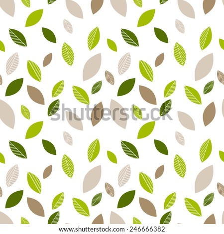 Seamless decorative template texture with green and beige leaves. Seamless stylized leaf pattern.  - stock vector