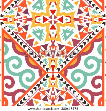 Seamless Decorative Vector Pattern for Textile Design. Mix of Triangles, Stripes and Twirl Shapes - stock vector