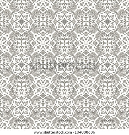 Seamless decorative wallpaper with ethnicity ornament in brown and beige colors, vector - stock vector