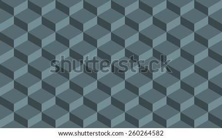 Seamless denim blue isometric flattened cubes optical illusion pattern vector - stock vector