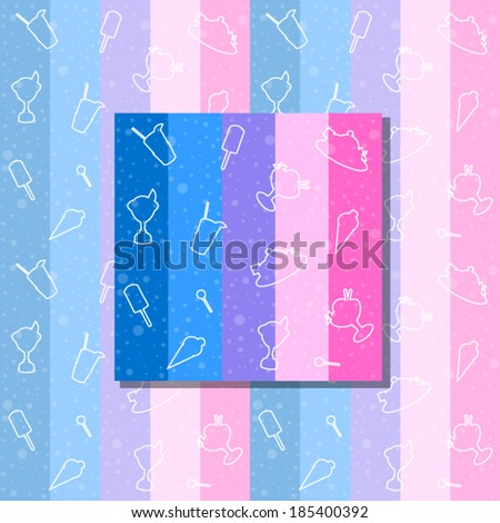 Seamless dessert background or pattern. Colorful stripes. Vector. - stock vector