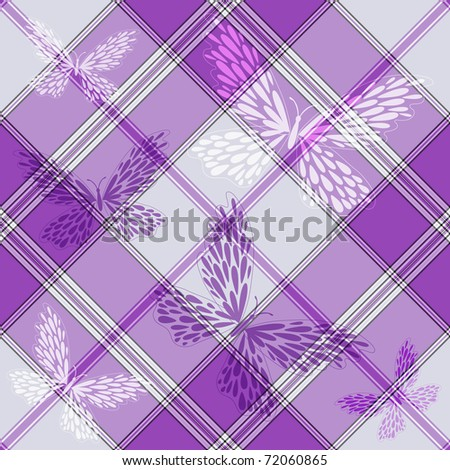 Seamless diagonal pattern with butterflies (vector EPS 10) - stock vector