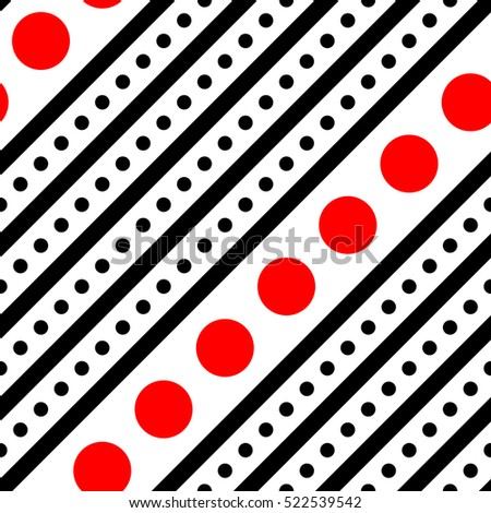 Seamless Diagonal Stripe and Circle Background. Vector Black and Red Wallpaper. Minimal Geometric Pattern. Elegant Fabric Ornament