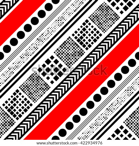 Seamless Diagonal Stripe and Circle Pattern. Vector Black and Red Background. Abstract Striped Ornament - stock vector