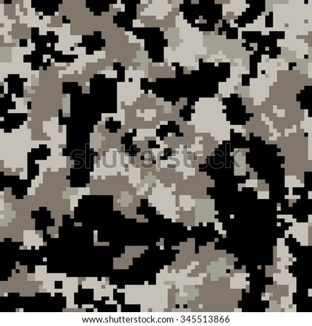 Seamless digital pixel fashion dark gray urban camouflage pattern vector - stock vector