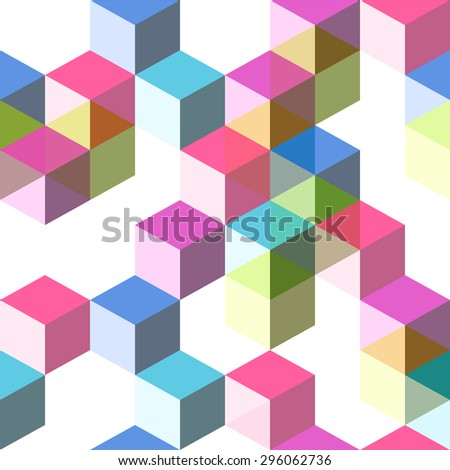 Seamless dimensional hip backdrop with geometric shapes, cubes and blocks - stock vector