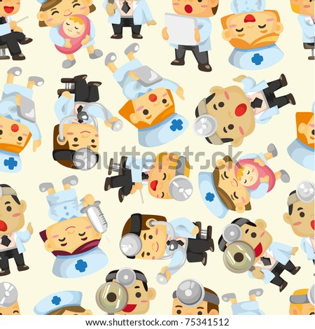 seamless doctor and nurse pattern - stock vector