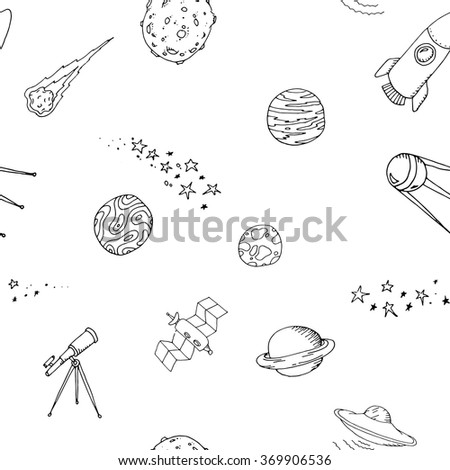 Seamless dooble space pattern set - stock vector