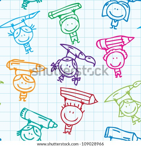 Seamless doodle background of happy drawing kids with pen, pencil and paint on school paper