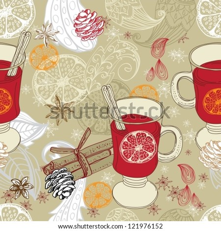 Seamless doodle background with mulled warm wine and floral elements for design, vector