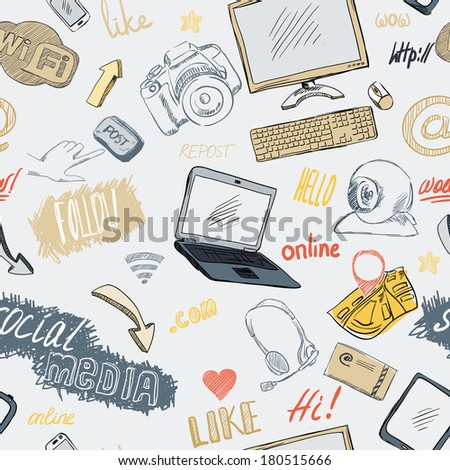 Seamless doodle blog social media marketing pattern background vector illustration - stock vector