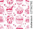 seamless doodle cake pattern - stock vector