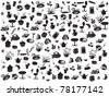 seamless doodle coffee and tea patterns - stock vector