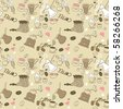 seamless doodle coffee pattern - stock vector