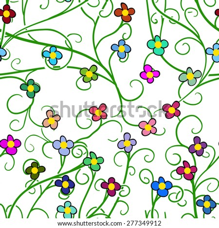 Seamless doodle floral pattern. 2 - stock vector