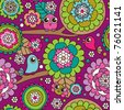 Seamless doodle flowers and birds background pattern in vector - stock vector