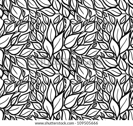 Seamless doodle leaves pattern. - stock vector