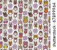 Seamless doodle owl pattern background in vector - stock vector