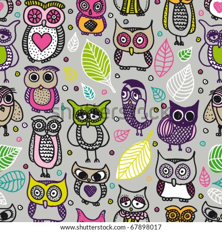 Seamless doodle owl pattern hand drawing in vector - stock vector