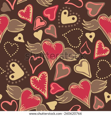 seamless doodle pastel colored hearts on dark grey background - stock vector