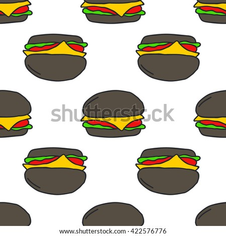 seamless doodle pattern. black burger. vector illustration - stock vector