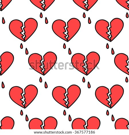 seamless doodle pattern. broken heart. vector illustration - stock vector