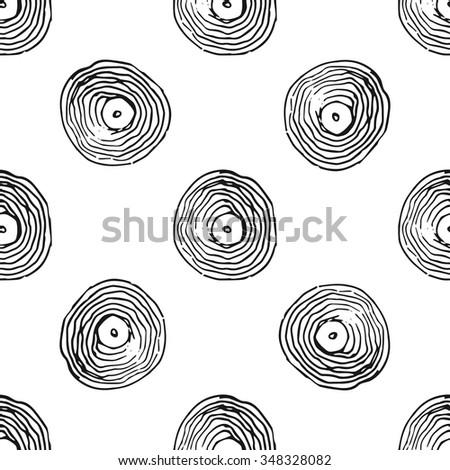 Seamless doodle pattern - vinyl records - stock vector