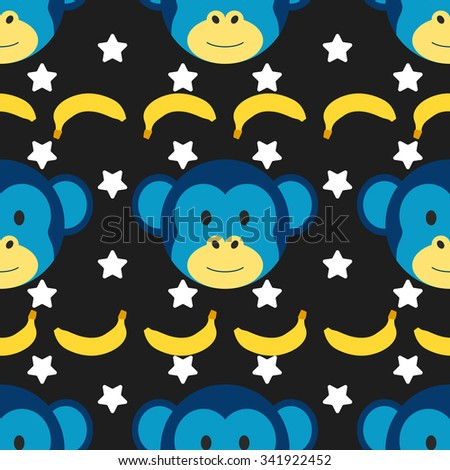 Seamless doodle pattern with cute monkey faces and banana. Colorful kids background in vector. Children illustration. Wallpaper with Chinese Zodiac, symbol of Happy New Year.