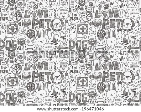seamless doodle pet pattern - stock vector