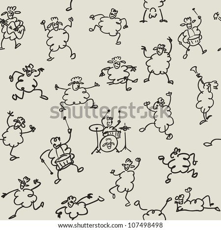 seamless doodle set of funny sheeps pattern
