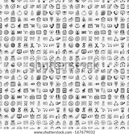 seamless doodle shopping pattern - stock vector