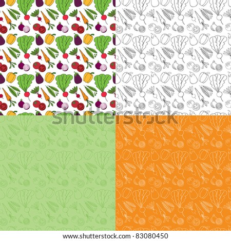 Seamless Doodle Vegetable Pattern - stock vector