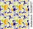 Seamless doodles pattern. Vector illustration. - stock vector