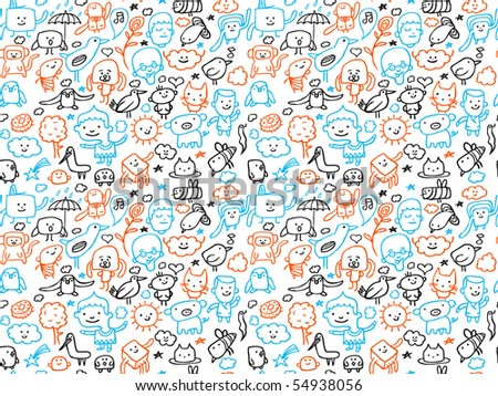 Seamless doodles pattern. Vector illustration.