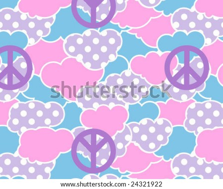 Seamless Dotty Peace Clouds - stock vector