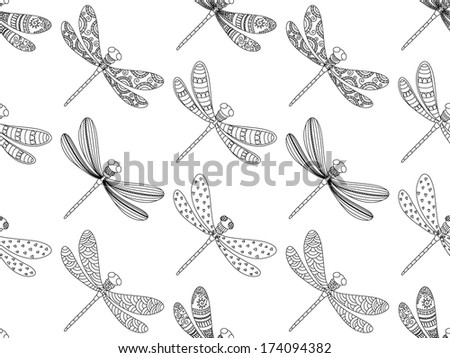 Seamless dragonfly pattern.