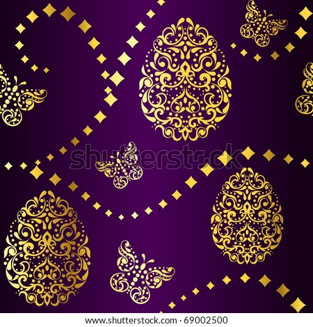 Seamless Easter background in purple and gold (EPS10); jpg version also available - stock vector