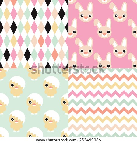 Seamless easter bunny and chicken geometric chevron and abstract background pattern set in vector - stock vector
