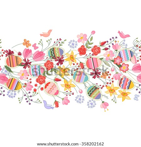 Seamless easter pattern brush with contour spring flowers and eggs  - stock vector