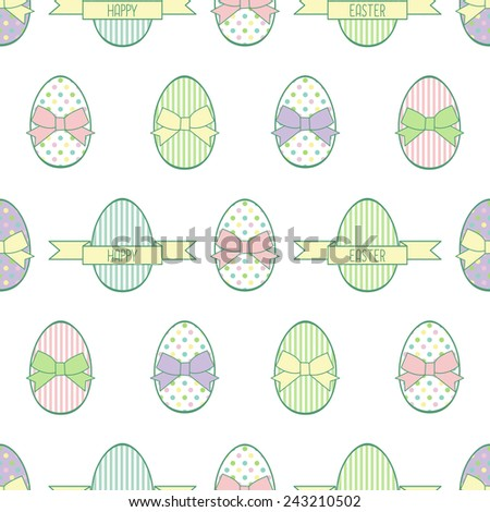 Seamless Easter pattern, card.  Vector background with Easter decorative eggs and bows. - stock vector