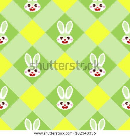 Seamless Easter pattern with bunnies on green gingham - stock vector