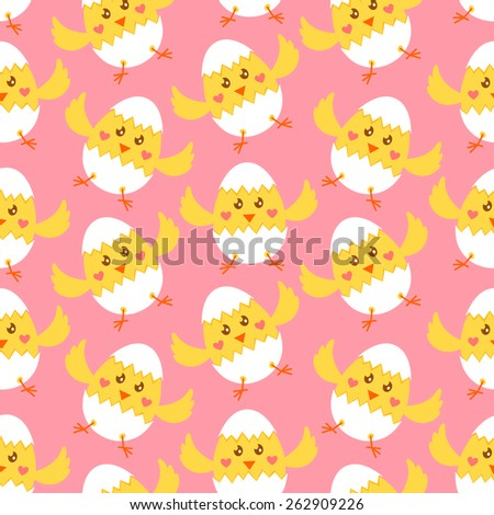 Seamless Easter pattern with cute yellow chicks in broken Easter eggs over pink background - stock vector