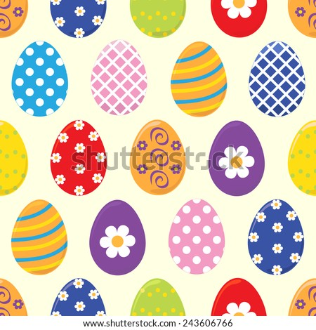 Seamless Easter pattern with decorated easter eggs in blue, yellow, green, red, white,violet on beige background.Perfect vector for invitation, greeting cards. - stock vector