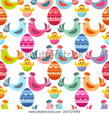 Seamless Easter pattern with Easter design elements. Easter chicks, chickens and eggs. - stock vector