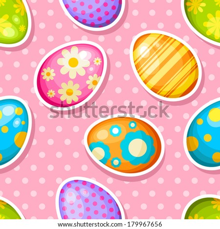 Seamless Easter pattern with Easter eggs - stock vector