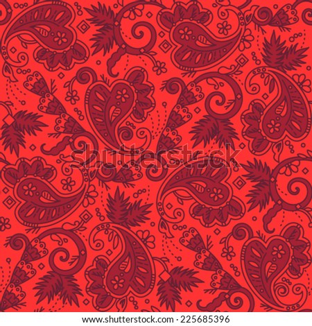 Seamless (easy to repeat) paisley pattern background (swatch, wallpaper, tile, print, texture) of red Christmas colors  - stock vector