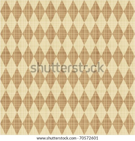 Seamless (easy to repeat - you see 9 tiles ) tan and brown harlequin pattern canvas background with fabric texture - stock vector