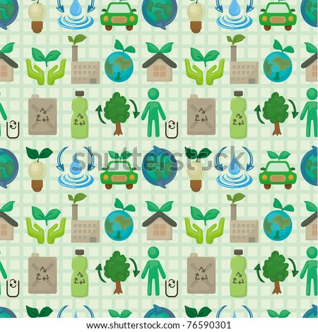 seamless eco icon pattern - stock vector