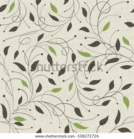 Seamless ecology pattern with leaves. Vector, EPS10 - stock vector