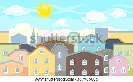Seamless editable horizontal background of city houses and roofs for video game - stock vector
